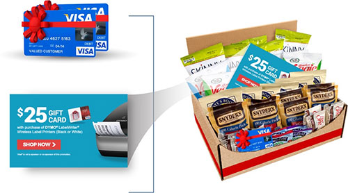 Gift cards and a box of snacks.